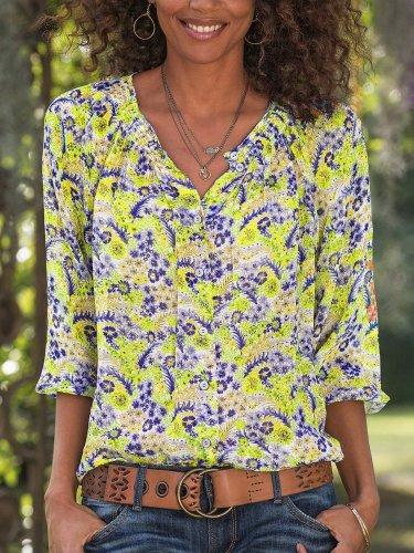 Yellow Long Sleeve Chiffon V Neck Shirts & Tops