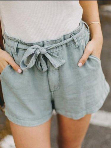 Solid Casual Pockets Shorts