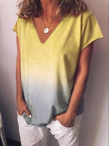 V Neck Short Sleeve Shirts & Tops