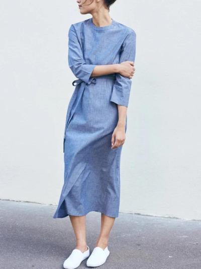 Women Light Blue Round Neck Plain Linen Casual Dresses
