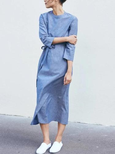 Women Light Blue Round Neck Plain Linen Casual Dresses