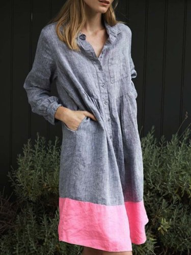 Gray Cotton-Blend Long Sleeve V Neck Dresses