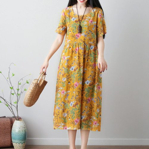 Women's  Fashion floral Print  O-neck maxi Dresses
