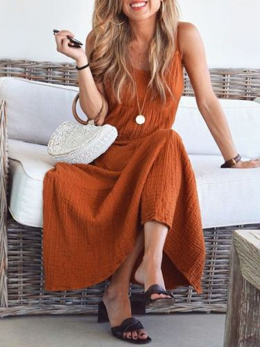 Orange Solid Sleeveless Casual Dresses