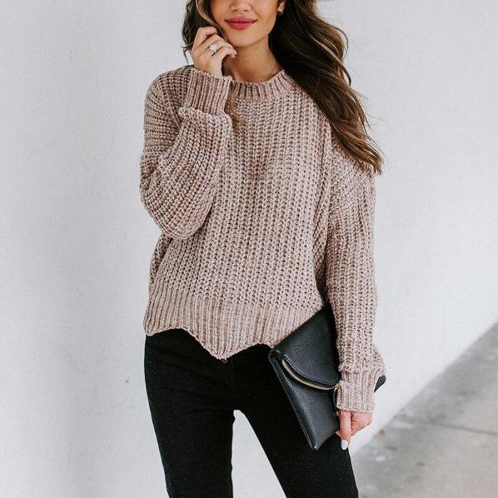 2020 spring new European and American fashion round neck loose long sleeve irregular ladies sweater knit sweater women