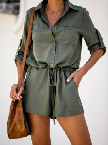 Army Green Cotton-Blend Pockets Half Sleeve One-Pieces