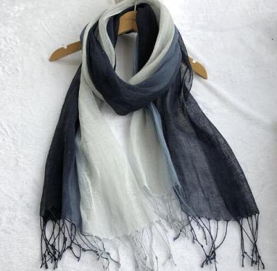 100% Linen Gradient Woman Spring Scarf Echarpe Muslim Hijab Foulard Shawls Tie Dye Scarves Women/Men Sjaal Scarfs for Ladies