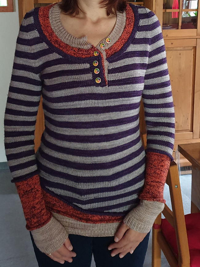 Striped Wool Blend Buttoned Women's Sweaters