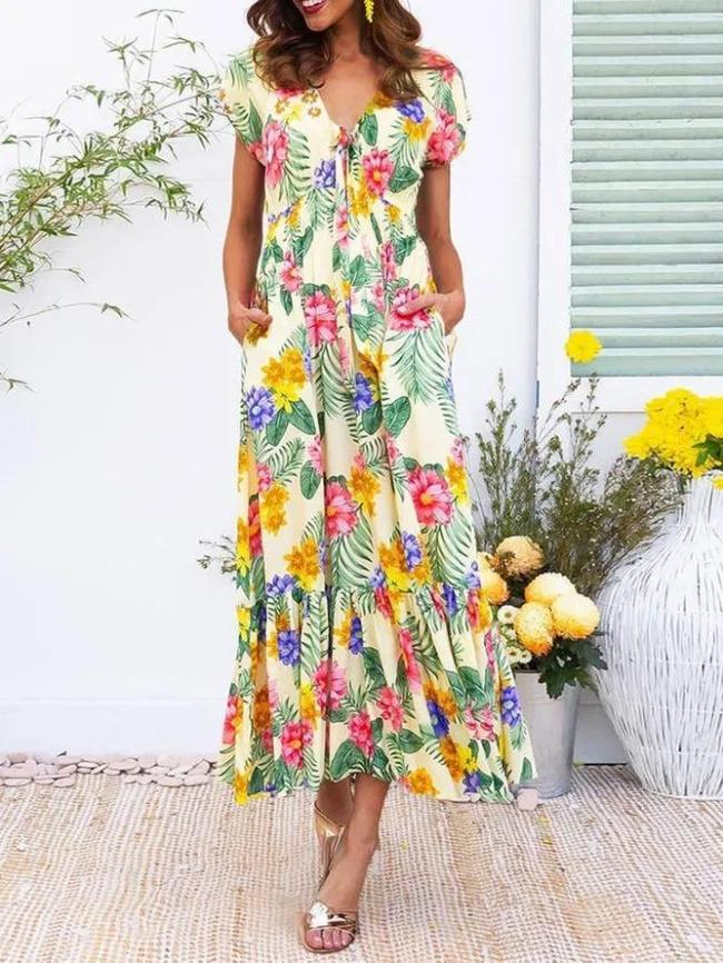 Summer Maxi Dress Plus Size Pockets Plants Dresses
