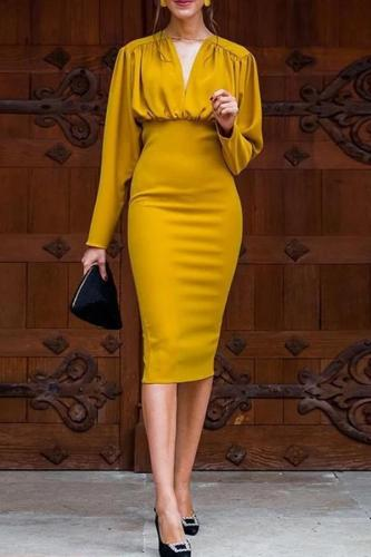 Long Sleeve V Neck Party dresses