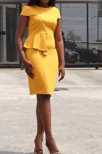 Flounce Collar Short Sleeve Slim Bodycon Dress