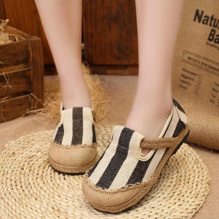 Casual Stripes Women's Slip-On Cotton Loafers