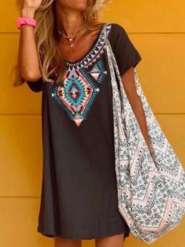 Casual Short Sleeve Geometric Dresses