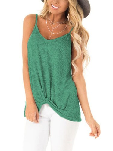 Cotton Casual Sleeveless Shirts & Tops