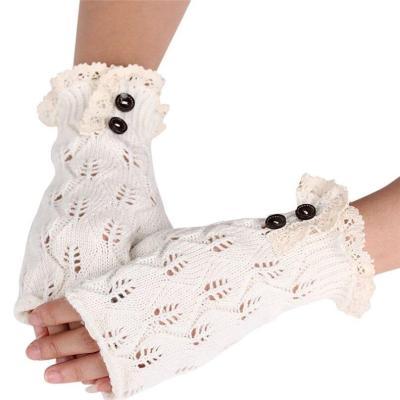 Women Wool Mitten Warm Fingerless Button Gloves Winter