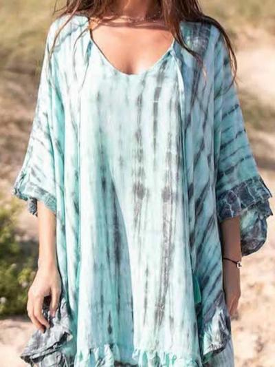 Blue Short Sleeve Round Neck Dresses