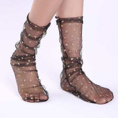 Transparent Breathable Socks Female Love Mesh Star Ladies Socks