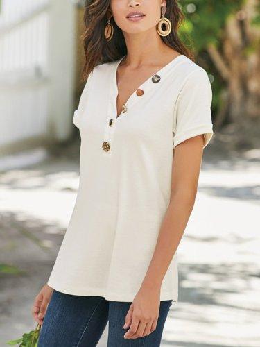Short Sleeve Cotton V Neck Shirts & Tops