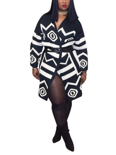 Long Sleeve  Vintage V Neck Geometric Printed Coat
