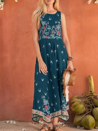 Sleeveless Floral Casual Dresses