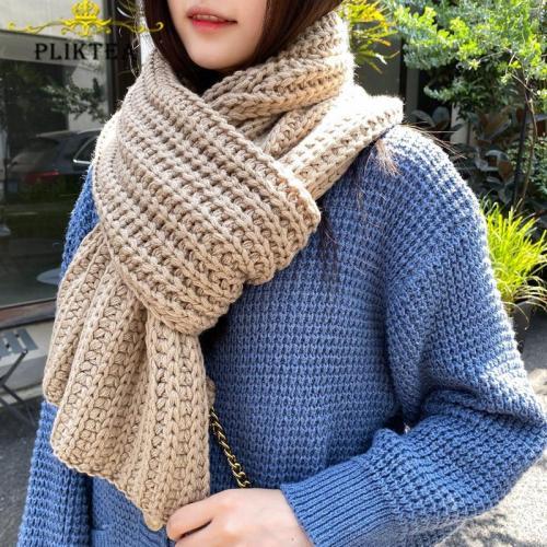 Winter Thick Warm Knitted Khaki Kadies Scarves Korean Yellow Female Knitting Scarf