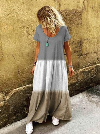 Color-Block Cotton Casual Dresses