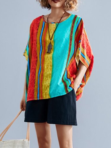 Plus Size Women Short Sleeve Round Neck Vintage Striped Floral Casual Tops