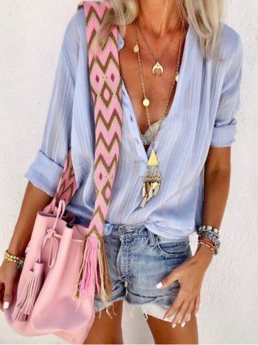 Blue V Neck Long Sleeve Shirts & Tops
