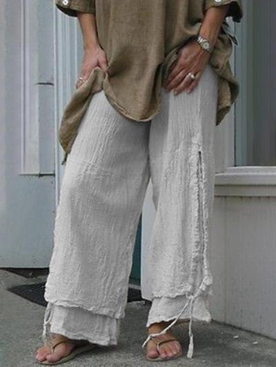 Plus Size Women Linen Casual Pants Solid Cotton Summer Bottoms