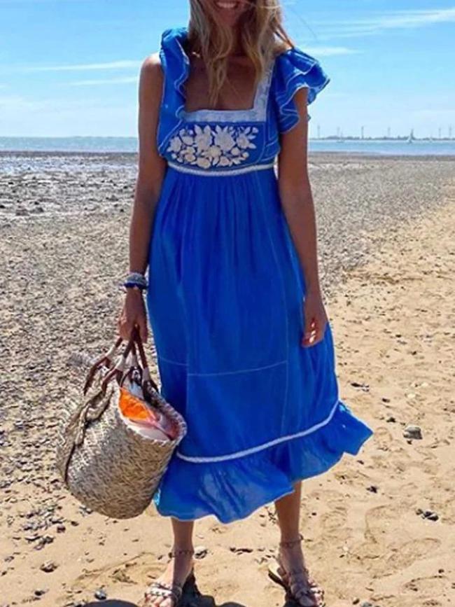 Blue Short Sleeve Cotton Dresses