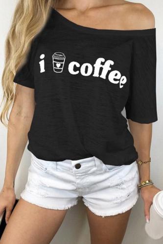 One Shoudler Bat Sleeves Printed T-shirt