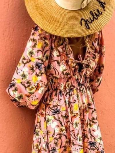 Vintage Long Sleeve V Neck High Low Dresses
