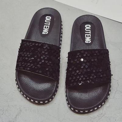 Women PU Slippers Casual Comfort Sequin Peep Toe Shoes