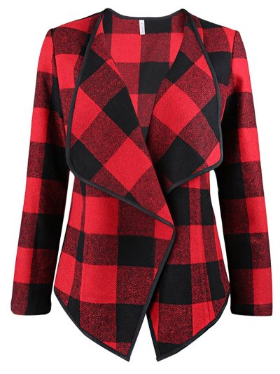 Autumn & Winter New Plaid Loose Turn-down Collar Long Sleeve Woolen Coat Outwear
