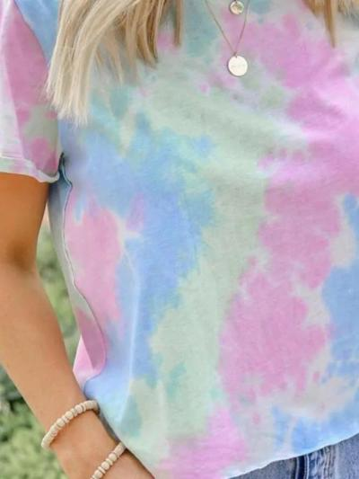 Multicolor Round Neck Casual Short Sleeve Tops