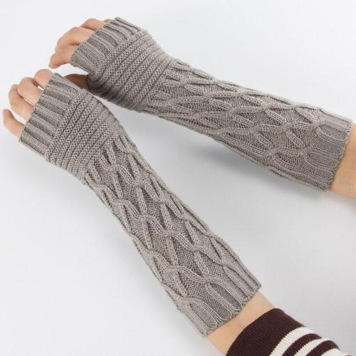 New Women Winter Knitted Gloves Semi-Long Autumn Half Fingered Hand Warmer Gloves