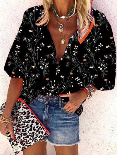 Black Short Sleeve Patchwork Shirts & Tops