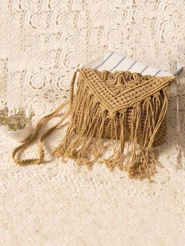 Knitted Crossbody Tasseled Bag