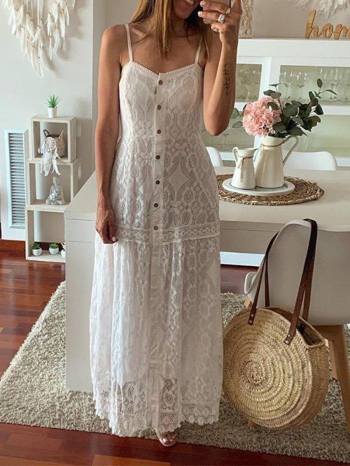 Lace Cutout Maxi Caftan Dress