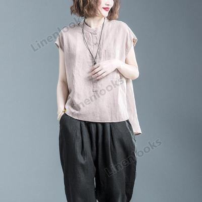 Summer Plus Size Top Short Sleeve T-shirt Tees Cotton and Linen Loose Women Tops
