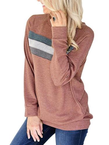 Striped Long Sleeve O-Neck Cotton Blouse & Shirts