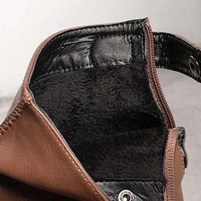 Women Winter Comfy Warm Lined Zipper Chunky High Heel Short Boots