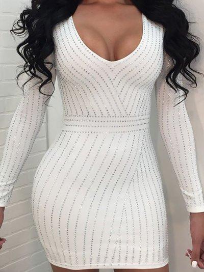 Sexy V Neck Long Sleeve Gilding Pure Colour Bodycon Dresses