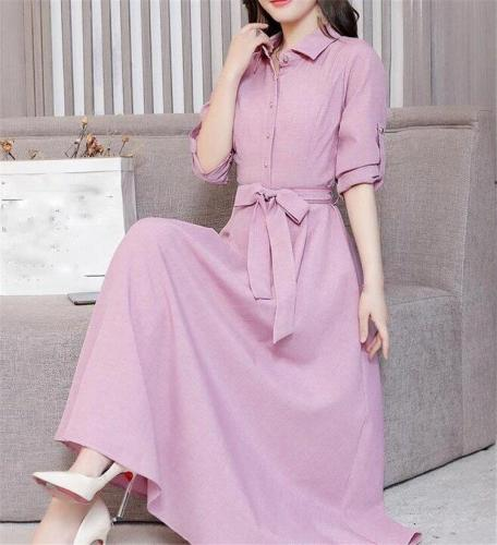 FashionTurn-Down Collar Plus Size Cotton Linen Dress