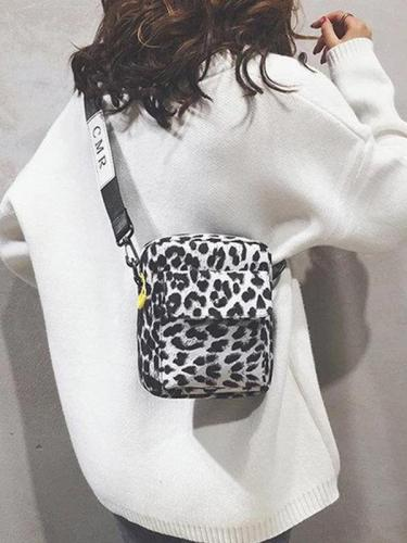 Women Leopard Zipper Casual Handbags