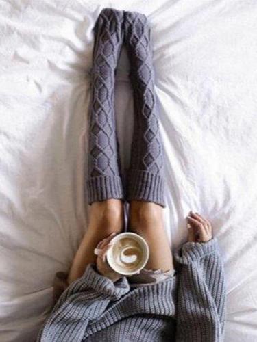 Breathable Knitted Geometric Socks