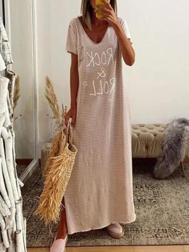 Pink V Neck Pockets Casual Dresses