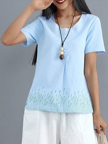 Plus Size Women Short Sleeve Round Neck Embroidered Floral Casual Tops
