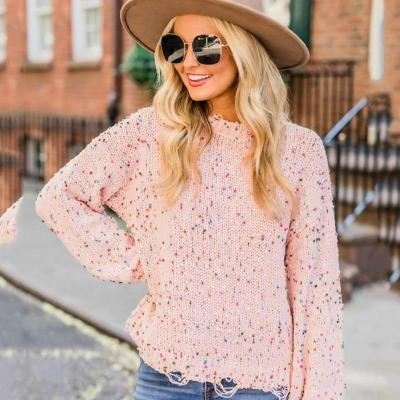 Sweater Sub-colored Dot Sweater Autumn and Winter Cross-border Round Neck Plus Size Women's Clothing Sweater