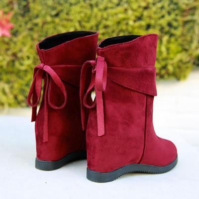 Women Flocking Booties Casual Comfort Slip On Shoes